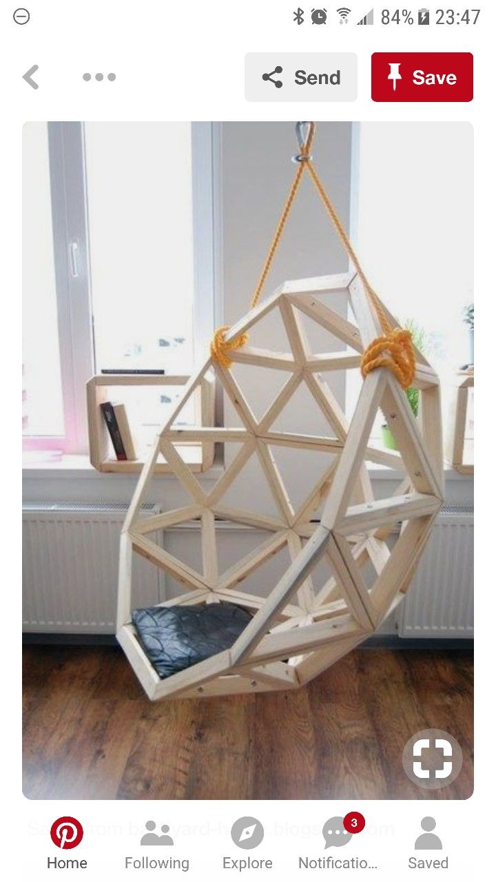 Diy Wooden Hanging Chair Just A Pic But Seems Straight Forward Diy Hanging Chair Swing Chair Diy Hanging Chair