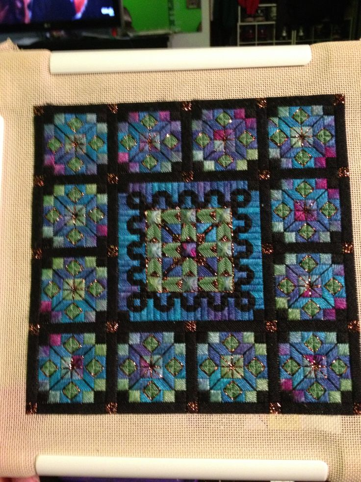 My latest - a stained glass quilt....all in stitches