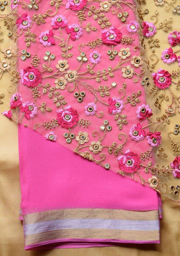 Pink saree with embroidered blouse piece – Rang Mohe