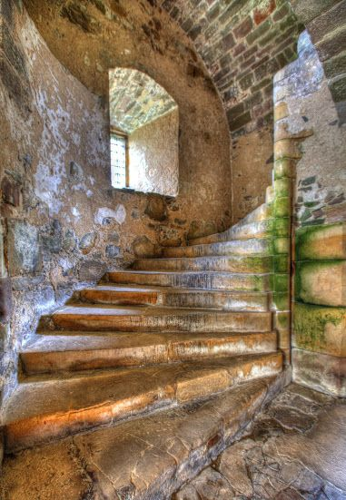 Interior of Elcho Castle, Perth, Scotland and the stairs leading to the sleeping quarters. Photo: google+