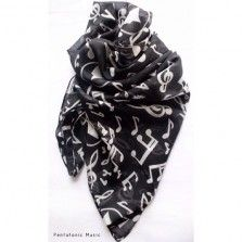 Musical Notes Black Scarf