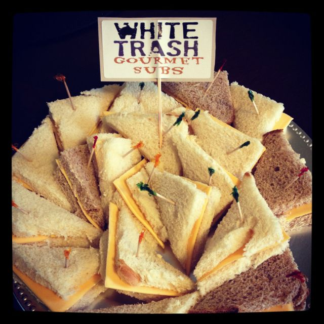 White trash party platter.  Cheese sandwiches!