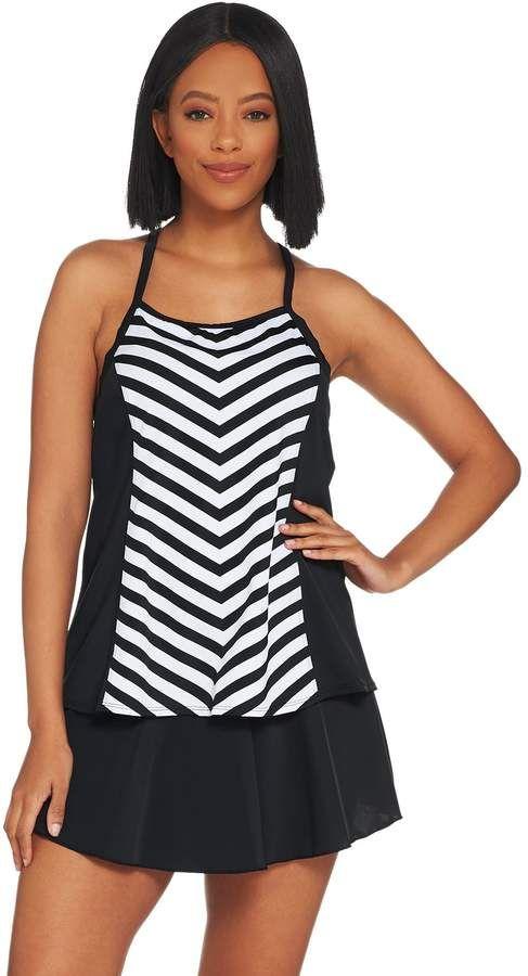 ea4c3fe13d013 Denim & Co. Beach Stripe Tankini Swimsuit with Skirt #Stripe#Beach ...
