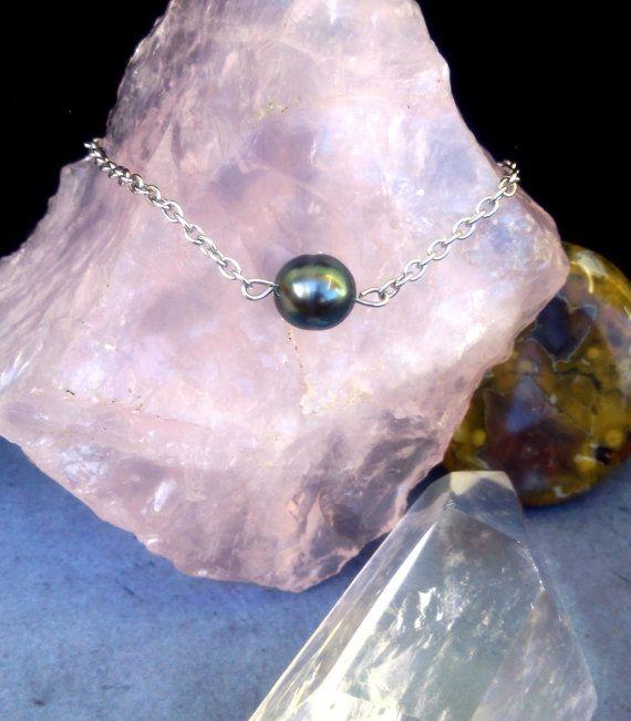 Bracelet perle de tahiti ,chaine acier, ajustable ,Cerua Pearl Tahiti pearl St Valentin 116-7