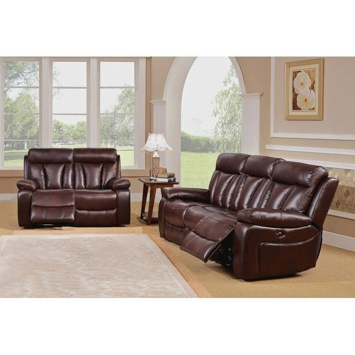 black leather living room furniture sets%0A Coja Kathleen Leather Power Sofa and Loveseat Recliner Set  Black