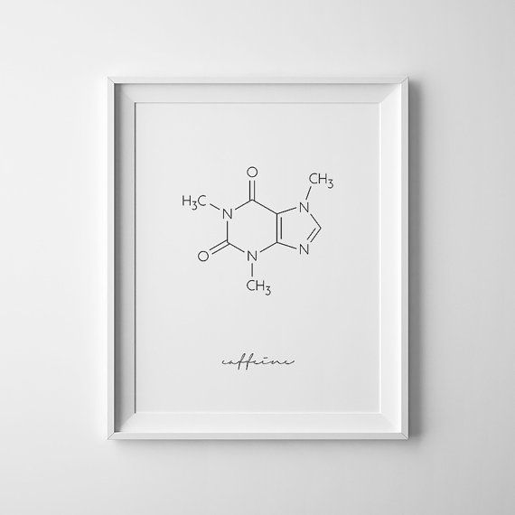 Caffeine Molecule  This listing is for a DIGITAL FILE of this artwork. No physical item will be sent. You can print the file at home, at a local print shop or using an online service.   SAVE 30% when you buy 3 or more prints! Enter COUPON CODE: 30OFF  Pair it with chocolate molecule print: www.etsy.com/listing/455338286/chemistry-gift-chocolate-wall-art?ref=shop_home_active_1  or with I could give up coffee print: www.etsy.com/listing/471683503/funny-print-c...