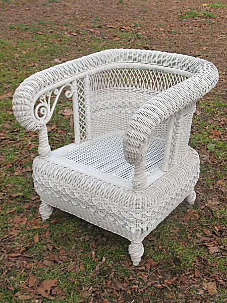Antique Victorian Wicker Arm Chair / Heywood Brothers and Wakefield Company