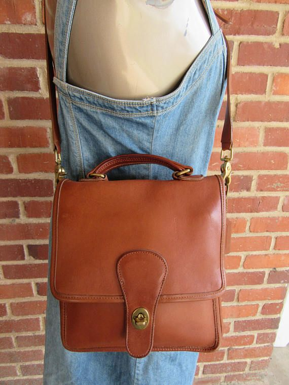 Coach Willis Leather Station Bag Satchel Cross Body Purse Tote