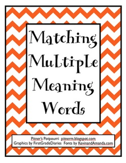 Multiple Meaning Words Matchup - each student gets card, finds group of 3 (word with two definitions), writes sentence with each word
