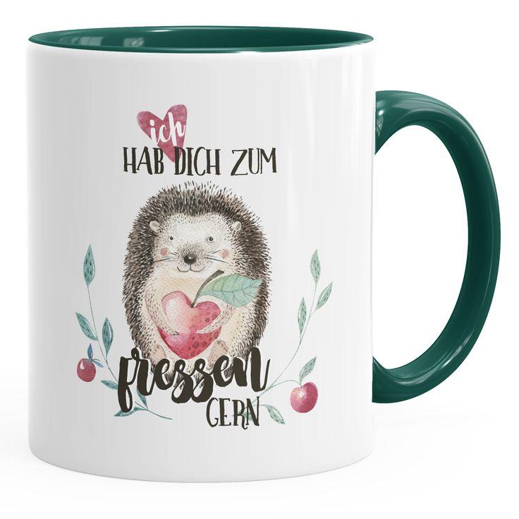 Kaffee-Tasse Ich hab dich zum fressen gern Watercolor Igel Liebe Spruch Geschenk Love Quote MoonWorks®