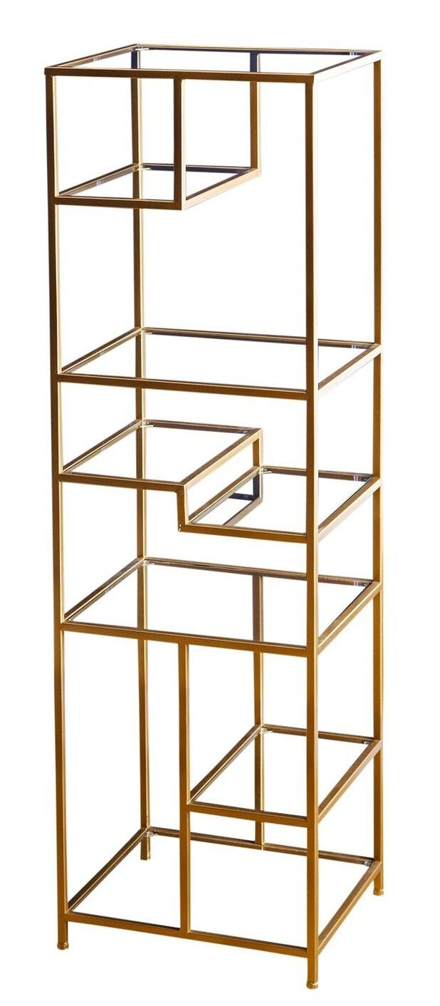 Features:  -Color: Gold.  -Materials: Iron, glass.  Product Type: -Etagere.  Finish: -Gold.  Frame Material: -Metal.  Shelving Included: -Yes.  Orientation: -Tall.  Back Panel: -Open.  Shelf Material: