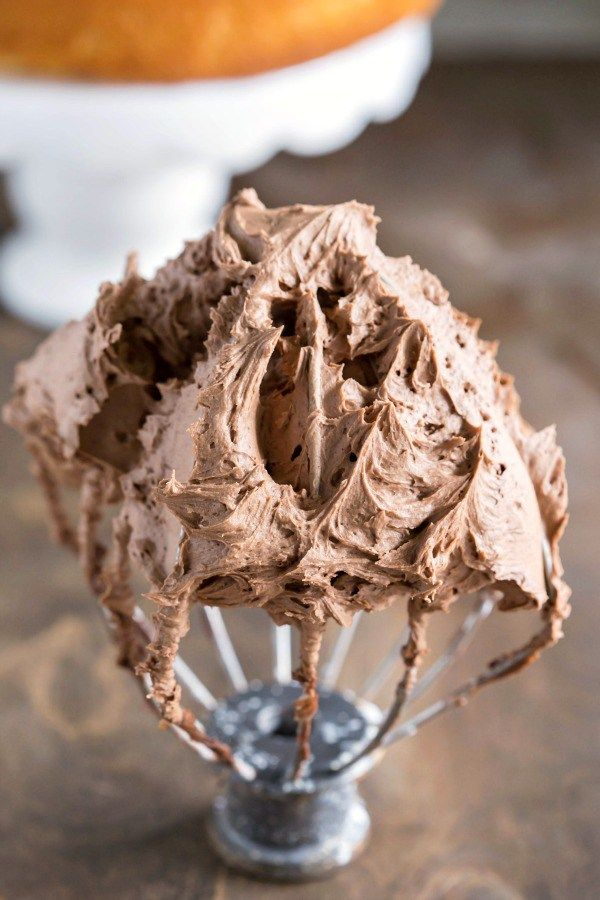 Chocolate Buttercream Frosting Recipe - rich and smooth but not too sweet buttercream. Perfect on cake or on a cupcake!