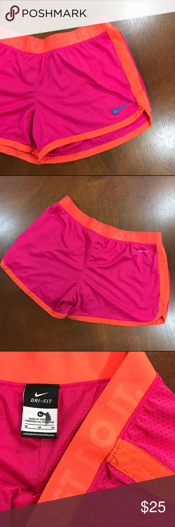 NIKE Dri Fit Shorts Orange and pink Nike Dri Fit Shorts. Excellent condition. Nike Shorts
