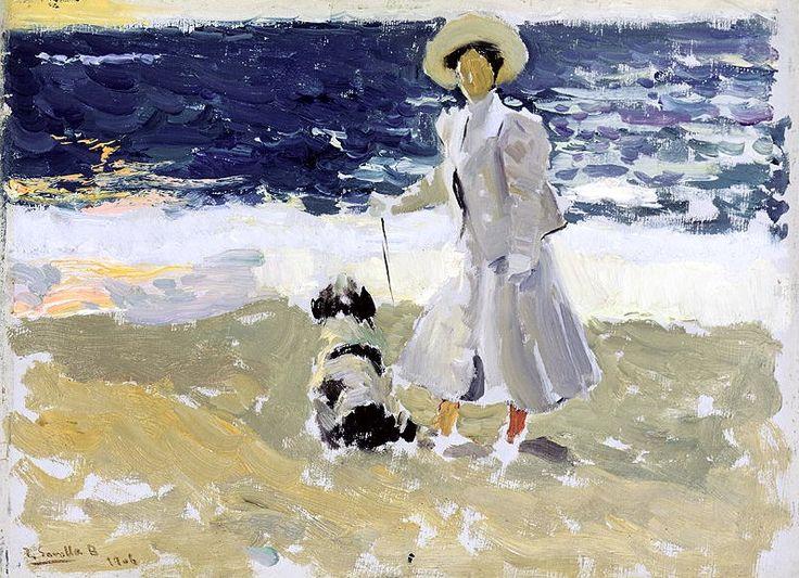 Joaquin Sorolla y Bastida - Lady and a Dog on the Beach