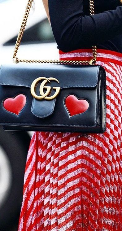 5997c1b2553 Gucci bag | Red skirt | Hearts | Original | Statement | Streetstyle | More  on Fashionchick.nl