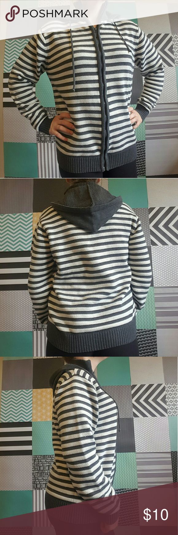 Attitude Gold Striped Zip Up Hoodie Sweater Attitude Gold, gray and off-white stripes, zipper closure, hood, good condition, size XL but runs small, I typically a size medium. Attitude Gold Sweaters