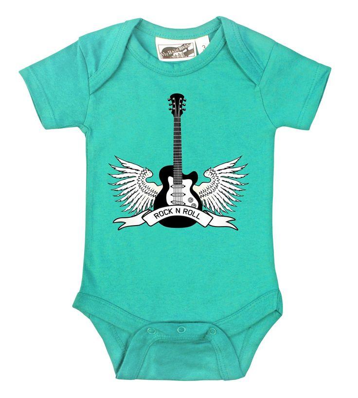 Winged Guitar Rock N Roll Aqua esie Baby Clothes