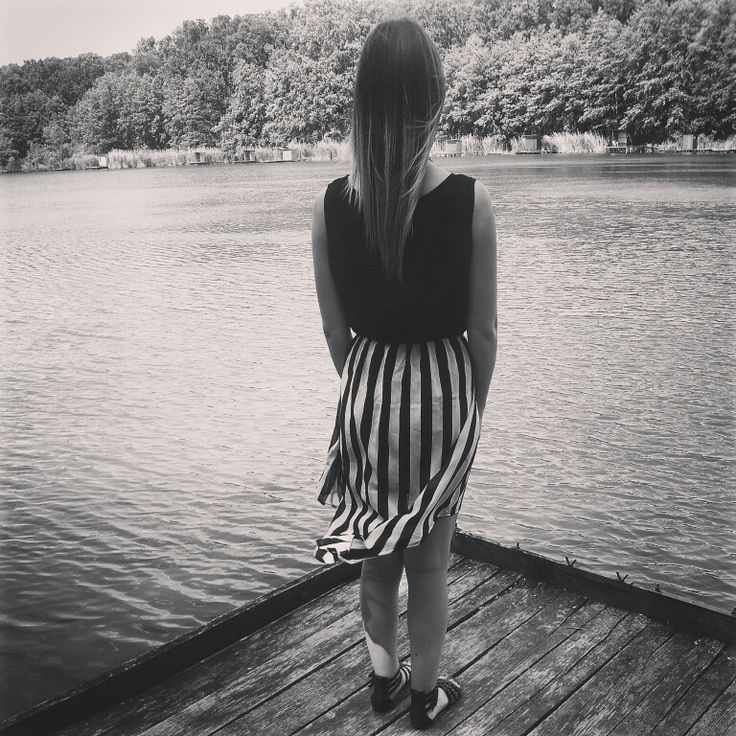 #striped #dress #asym #nature #lake #ombrehair