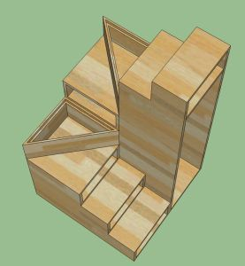 8 steps. 3x3 footprint. Drawers, Lift Off Treads, clothes hanging area on backside.