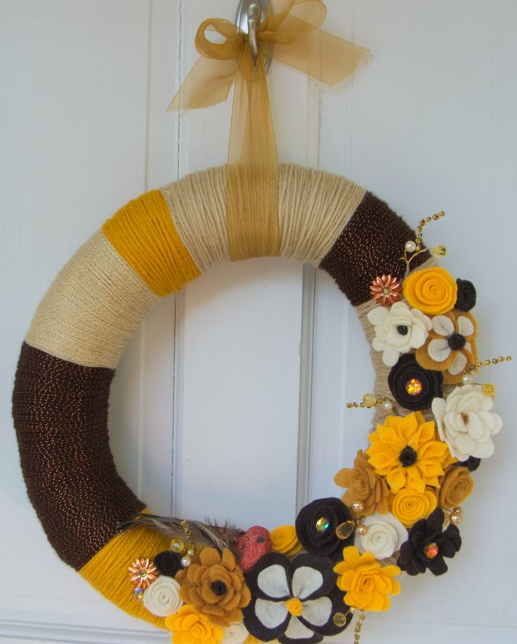 "14"" Fall Autumn Gold, Cream, Yellow and Brown Yarn Wrapped Wreath with Felt Flowers Bird Embellishment by TheQuillery on Etsy"