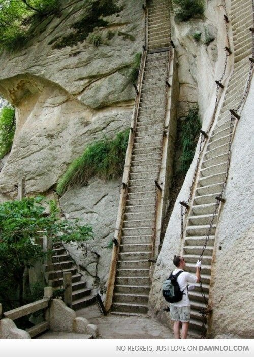 hmm.. stairs for elves obviously lol.: Buckets Lists, Favorite Places, Huashan, Mounthua, Hua Shan, Danger Hiking, Mount Hua, Challenges Accepted, Shaanxi Provinces