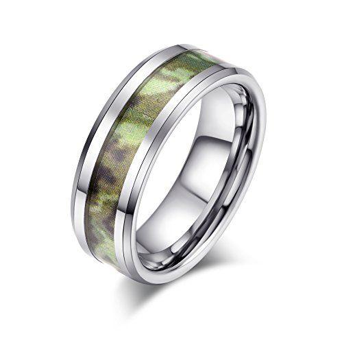 メンズ タングステン リング 指輪,クラシック シンプル 迷彩柄 結婚指輪, シルバー(銀) KZUN…