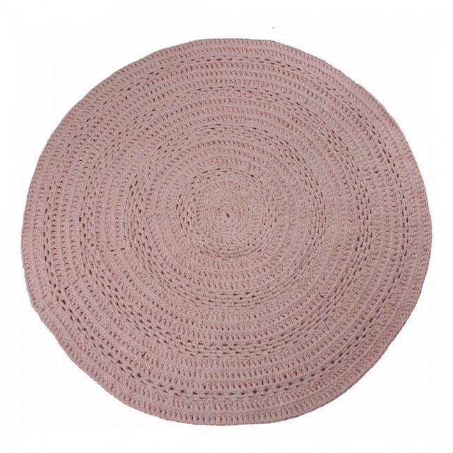 Gehaakt vloerkleed peony oud roze 80 cm - Naco Trade