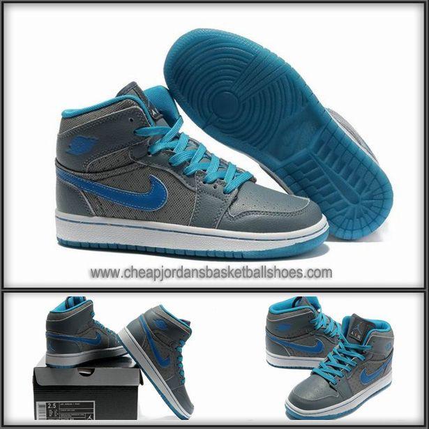 nike jordan shoes for girls   ... Blue Grey) Nike Air Jordan 1 Basketball Shoes For Girls Outlet Store