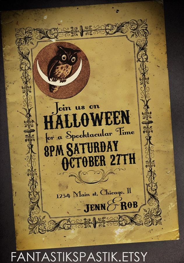 owl halloween invitations diy printable halloween invitation 800 via etsy