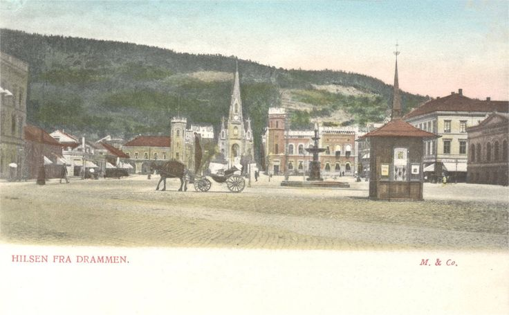 Bragernæs torg i Drammen, ca. 1900