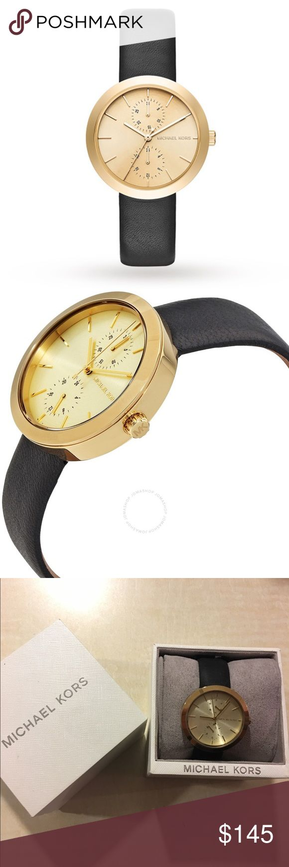 Michal Kors Garner Gold Dial Ladies Watch Beautiful new Michael Kors watching soft black leather strap. Has two dials on the watch. Michael Kors Accessories Watches