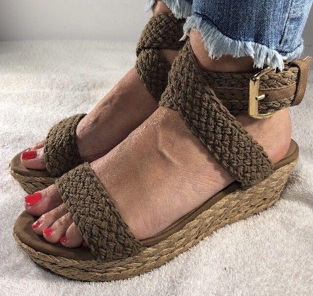 32e5745ca69 Stuart Weitzman Alexlo Swamp Espadrille Platform Crochet Wedge Sandals Size  7M