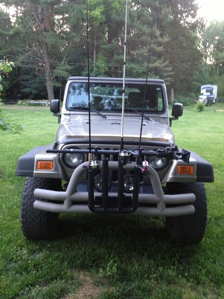 Homemade Fishing Pole Rack For My Jeep Made Out Of 1 1 2
