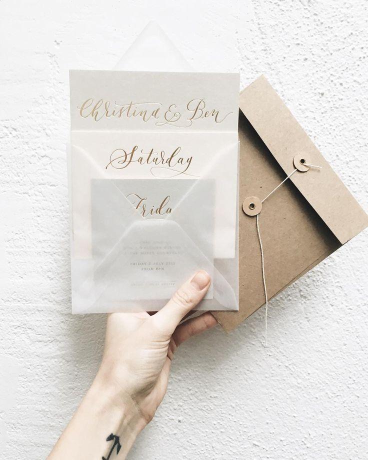 Lamplighter London Modern Calligraphy Wedding Invitations