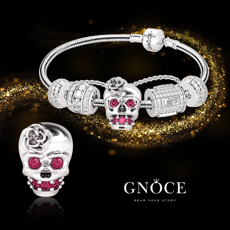 GNOCE Skull King Skull shaped Bead Charm 925 Sterling Silver Charms Fit European Bracelets Necklaces Gift for her kgIIW