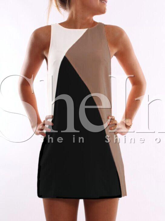 Vestido sin manga color combinado -blanco negro 13.79