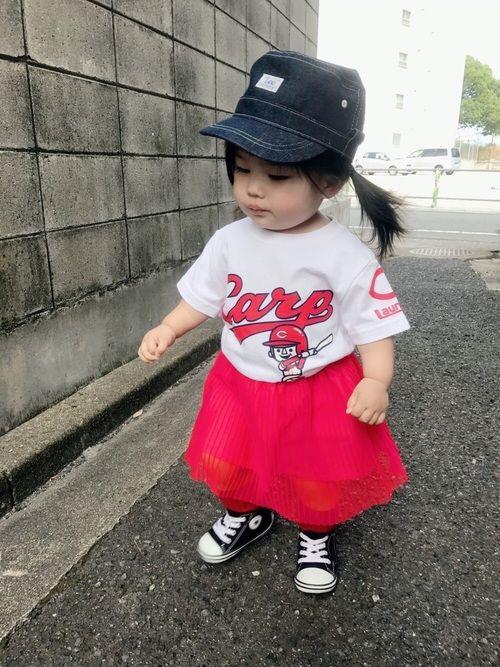カープ女子⚾️❤️ カープTシャツはランドリーとのコラボ❤️ チュールプリーツスカートは1300円と