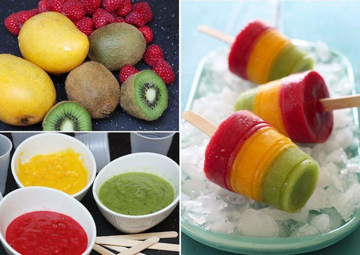 Gelato fatto in casa: si prendono i frutti e si frullano separando in tre recipienti distinti. Nel frattempo si prepara un classico sciroppo di zucchero, mettendolo a bollire 4-5 minuti. Questo, una volta tolto dal fuoco, si mischia in parti uguali alla purea di frutta. Per servire non servono particolari stampini ma bastano dei bicchieri in plastica nei quali versare gli strati di frutta (il trucco è fare uno strato e congelare almeno un'oretta prima di aggiungere il seguente).