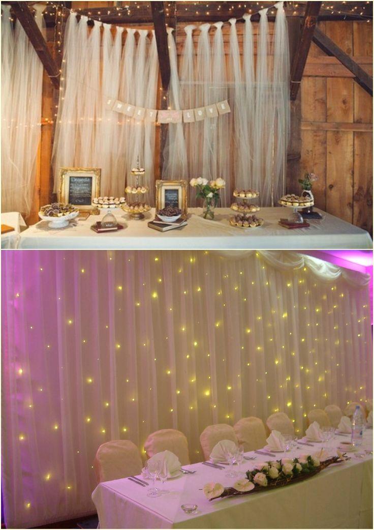 Decoração parede festa com voil ou tule e luzinhas