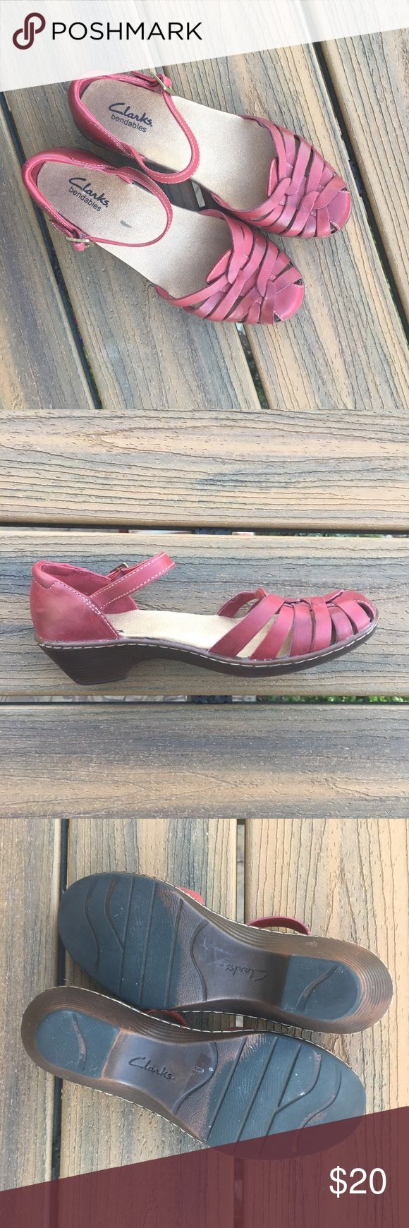 Red Clarks Sandals Mary Jane Excellent condition. They are very cushy and soft. Feel free to ask questions or make an offer! Would fit a 7 or 7.5 Clarks Shoes Sandals
