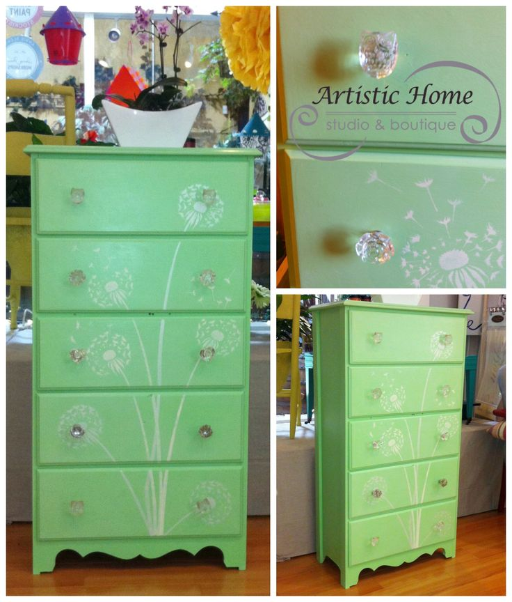 Mint green dresser with fun glass knobs, painted and stenciled with dandelion stencil by Cutting Edge Stencils.  Perfect for a baby's room!