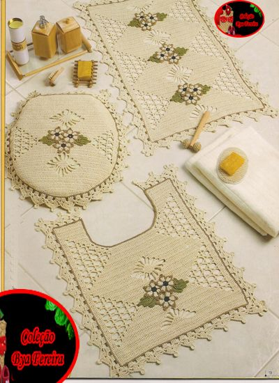 Bya Ferreira - Crochet Designer: Conjunto de banheiro - tampa de vaso