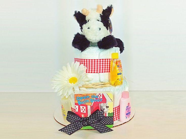 Diaper Cake. Baby Shower Diaper Cake. Stuffed Animal. Baby Boy. Baby Girl. Farm Baby Shower Diaper Cake. Farm Theme Baby Shower by DiaperCakesbyRuby on Etsy