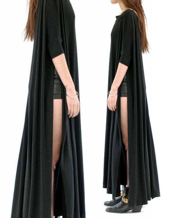 BLACK - VENT-TEE MAXI DRESS long womens dress tunic top shirt tshirt oversized short sleeve oversize fit plus size option