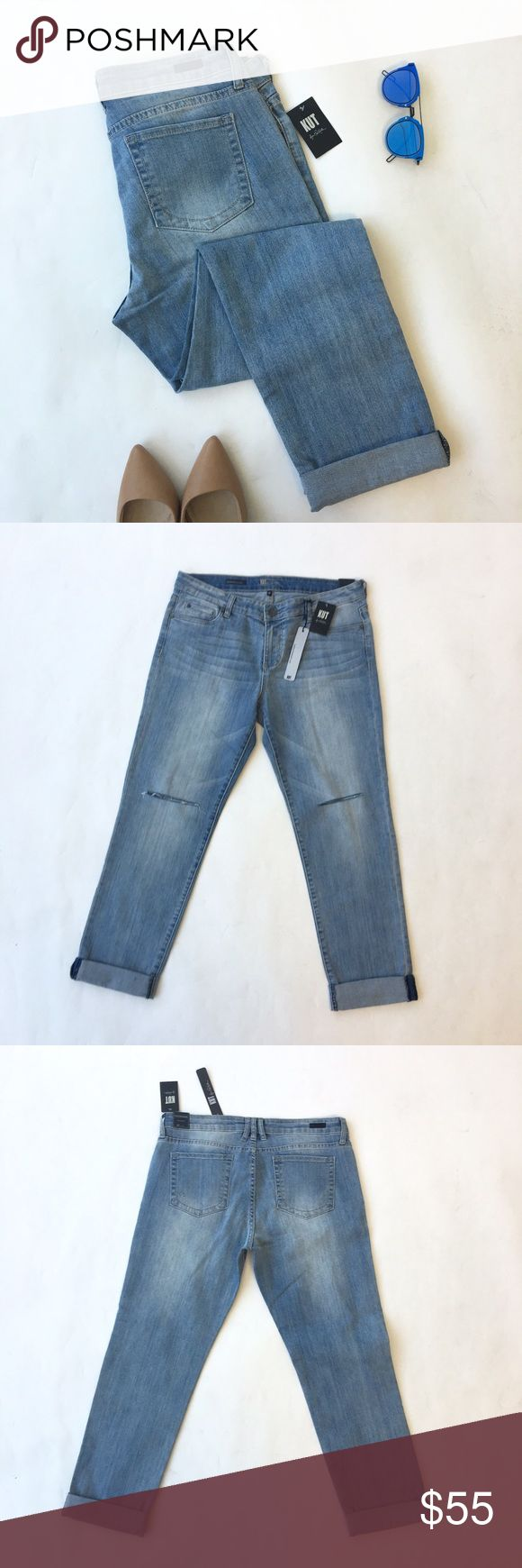 Kut Catherine Boyfriend Jeans Boyfriend jeans with classic five pocket design and slits at knees in light vintage wash. 99% cotton, 1% spandex. Can be worn cuffed or unrolled. Brand new with tags. Stock photo from Nordstrom shown for fit. Please carefully review each photo before purchase as they are the best descriptors of the item. My price is firm. No trades. First come, first served. Thank you! :) KUT from the Kloth Jeans Boyfriend