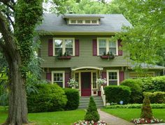 green exterior house color combinations | Exterior color scheme - sage green base, burgundy shutters and cream ...