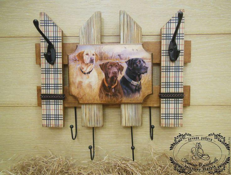"""Купить Вешалка """"Лабрадоры"""", для поводков и ключей, декупаж - вешалка, ключница, собака, собаки, Ключница декупаж"""