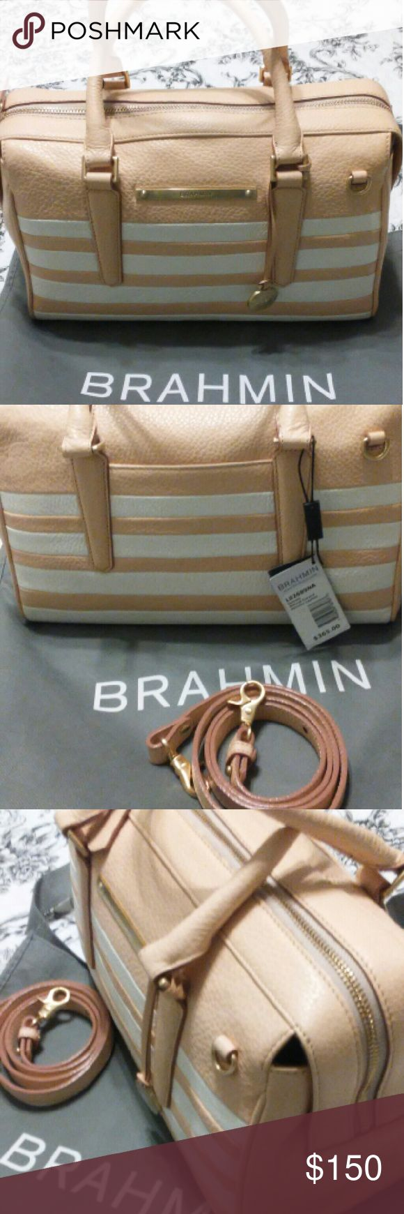 "NWT BRAHMIN Handbag Genuine Leather, outside pocket for cell phone, large zipper pocket, 2 open pockets inside. 5"" handle drop, with a detachable shoulder strap. Color is white & blush, like shown in pic. Very neutral color. Beautiful soft Swede interior, a BRAHMIN trade mark along with key fob, loop for 2 pens and Brahmin tag. Brahmin Bags Satchels"