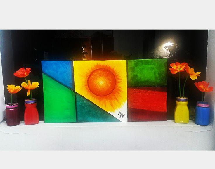 Cuadros pintados sobre cartón! Y floreros con frascos reciclados...