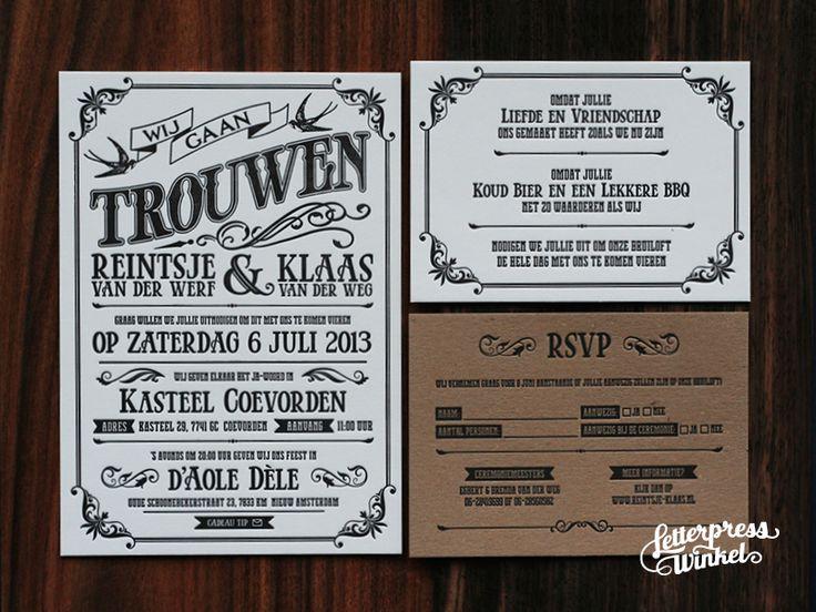 Trouwkaart vintage header   Letterpress Winkel letterpress, 100% katoen, trouwkaart, huwelijkskaart, save the date, RSVP, reliëf, preeg, indruk, blind-druk, nederland, holland